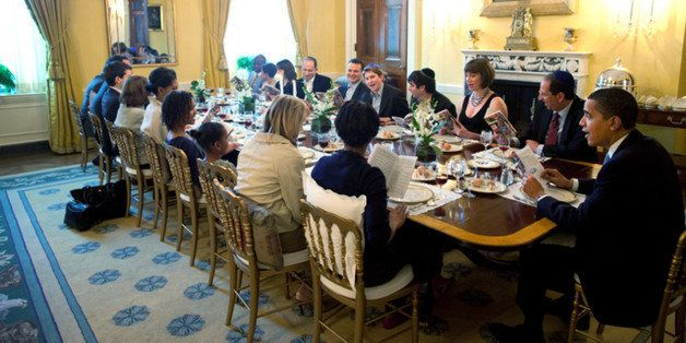 U.S. President Barack Obama and Michelle Obama host a Passover Seder Dinner with friends and staff  in the Old Family Dining