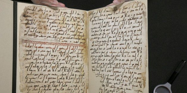 A fragment of a Koran manuscript is seen in the library at the University of Birmingham in Britain July 22, 2015. A British u
