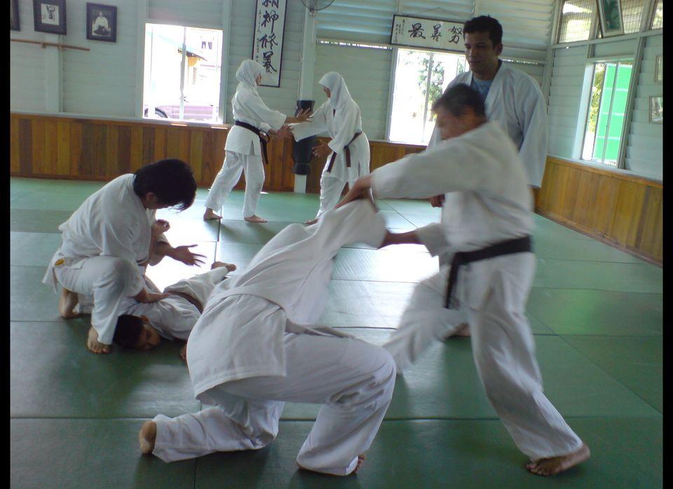 Students in Aikido training at Shudokan Aikido Dojo, Seremban, Malaysia. (Courtesy of Asma Faizal)
