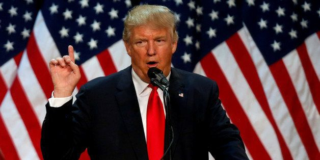 Republican U.S. presidential candidate Donald Trump speaks at the end of a campaign rally in Eugene, Oregon, U.S., May 6, 201