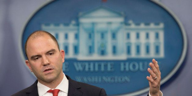Deputy National Security Adviser For Strategic Communications Ben Rhodes speaks to the media during the daily briefing in the