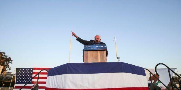 US Democratic presidential candidate Bernie Sanders speaks during a rally at Santa Monica High School Football Field in Santa