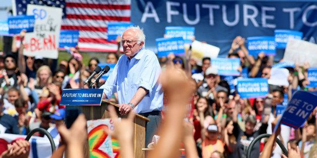 Democratic presidential candidate Sen. Bernie Sanders, I-Vt., speaks at a rally on Sunday, May 22, 2016, in Vista, Calif. (AP
