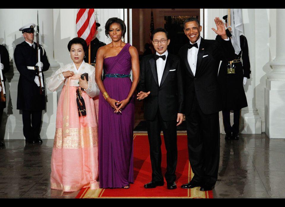 South Korean first lady Kim Yoon-ok, first lady Michele Obama, South Korean President Lee Myung-bak and U.S. President Barack