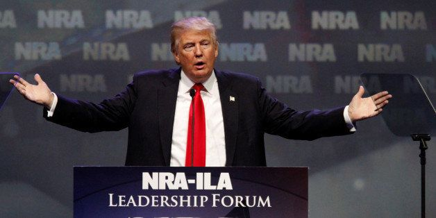 Republican presidential candidate Donald Trump addresses members of the National Rifle Association during their NRA-ILA Leade
