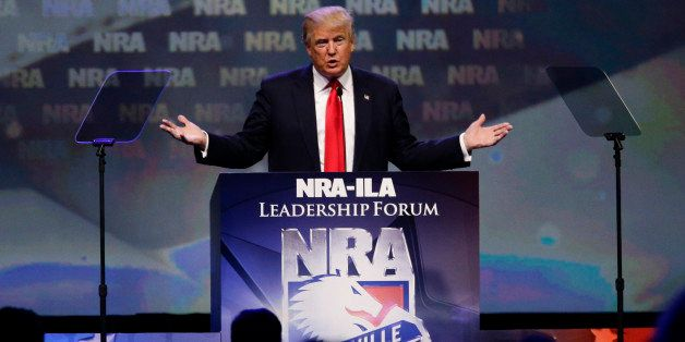 Republican presidential candidate Donald Trump speaks at the NRA Leadership Forum on Friday, May 20, 2016, in Louisville, Ky.