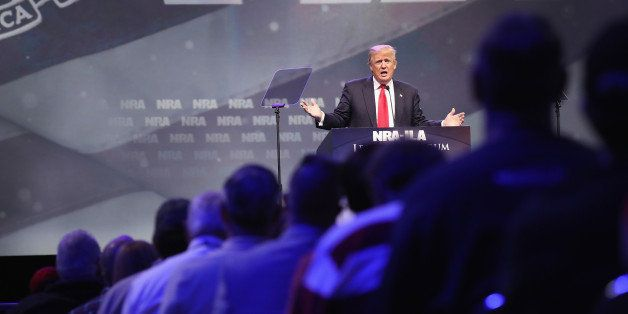 LOUISVILLE, KY - MAY 20:  Republican presidential candidate Donald Trump speaks at the National Rifle Association's NRA-ILA L