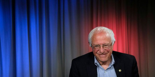 Democratic presidential candidate Sen. Bernie Sanders, I-Vt., smiles during an interview with The Associated Press, Monday, M