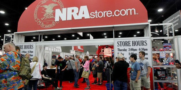 NRA members stand in long lines as the shop at the NRA Store at the National Rifle Association's (NRA) annual meetings & exhi