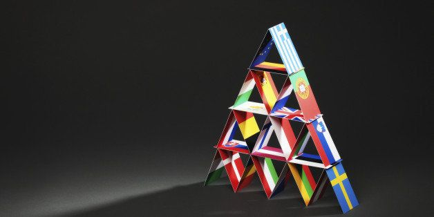 'Subject: House of cards made of European flags, signifying the economy and the debt crisis of the European countries.'