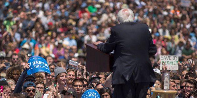 VENTURA, CA - MAY 26: Democratic presidential candidate, Sen. Bernie Sanders (D-VT) speaks at a campaign rally at VenturaÊCo