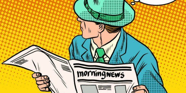 Retro man reading the morning news pop art retro style. Morning press. Politics and Economics. The media and Newspapers