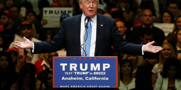 Republican U.S. presidential candidate Donald Trump addresses a rally with supporters in Anaheim, California, U.S., May 25, 2