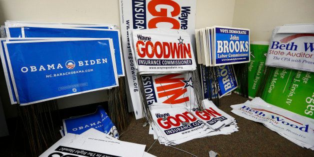 Yard signs for several democratic candidates including several for U.S. President Barack Obama are seen in a back room at the
