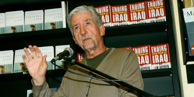 LOS ANGELES - JUNE 24:  Author Tom Hayden speaks before signing copies of his book, 'Ending The War in Iraq' at Book Soup Jun