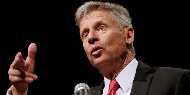 Libertarian Party presidential candidate Gary Johnson gives acceptance speech during National Convention held at the Rosen Ce
