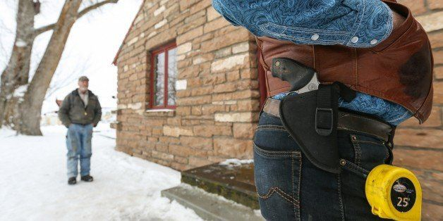 BURNS, OR - JANUARY 07 :  Ryan Bundy's gun is seen at the occupied Malheur National Wildlife Refuge on the sixth day of the o