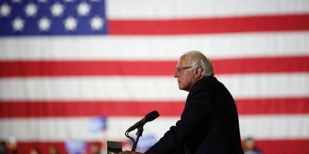 Democratic presidential candidate Sen. Bernie Sanders speaks at Barker Hangar on June 7, 2016 in Santa Monica, California. S