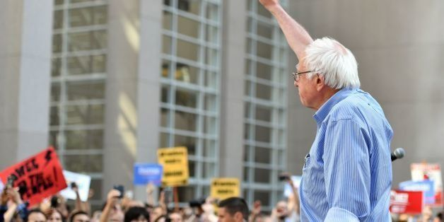 Democratic presidential candidate Bernie Sanders speaks to supporters during a rally for local union members in San Francisco