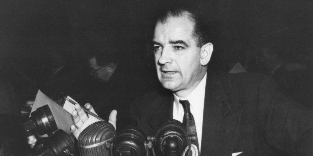 American politian US Senator Joseph R. McCarthy (1908 - 1957) speaks from behind a bank of microphones, mid 20th century. (Photo by Photoquest/Getty Images)