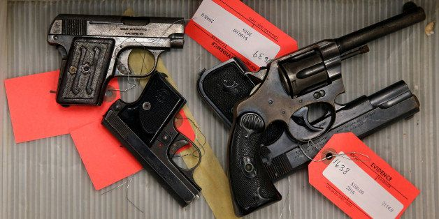 """Handguns turned in from the public as part of the """"Gun Turn-in"""" event where a gift card is given for every firearm turned ove"""