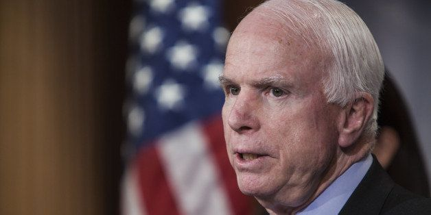 WASHINGTON, D.C. - JANUARY 13: Senator John McCain speaks at a press conference with Senator Kelly Ayotte (not seen), Senator