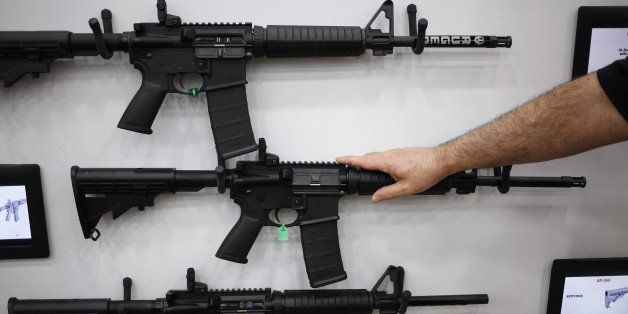 AR-15 rifles are displayed on the exhibit floor during the National Rifle Association (NRA) annual meeting in Louisville, Ken
