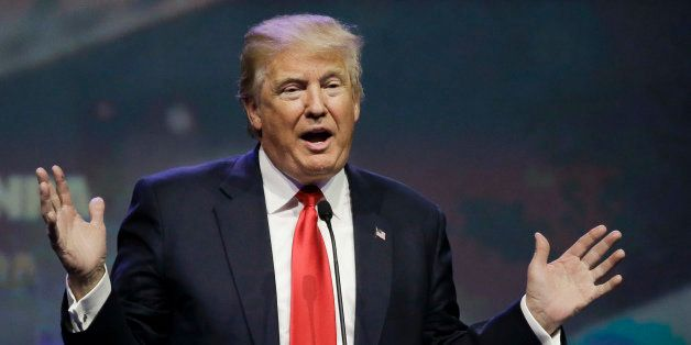 In this May 20, 2016 photo, Republican presidential candidate Donald Trump speaks at the National Rifle Association conventio