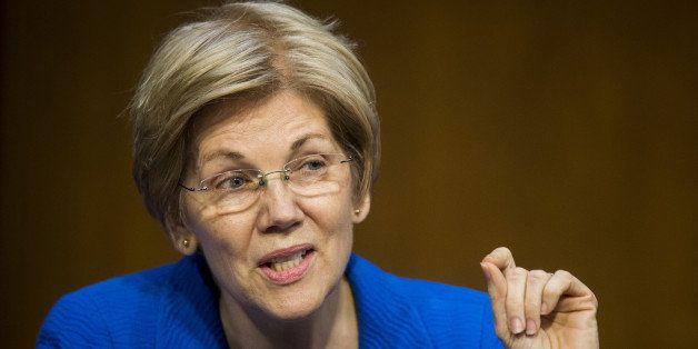 Senator Elizabeth Warren, a Democrat from Massachusetts, speaks during a Senate Banking Committee hearing with Janet Yellen,