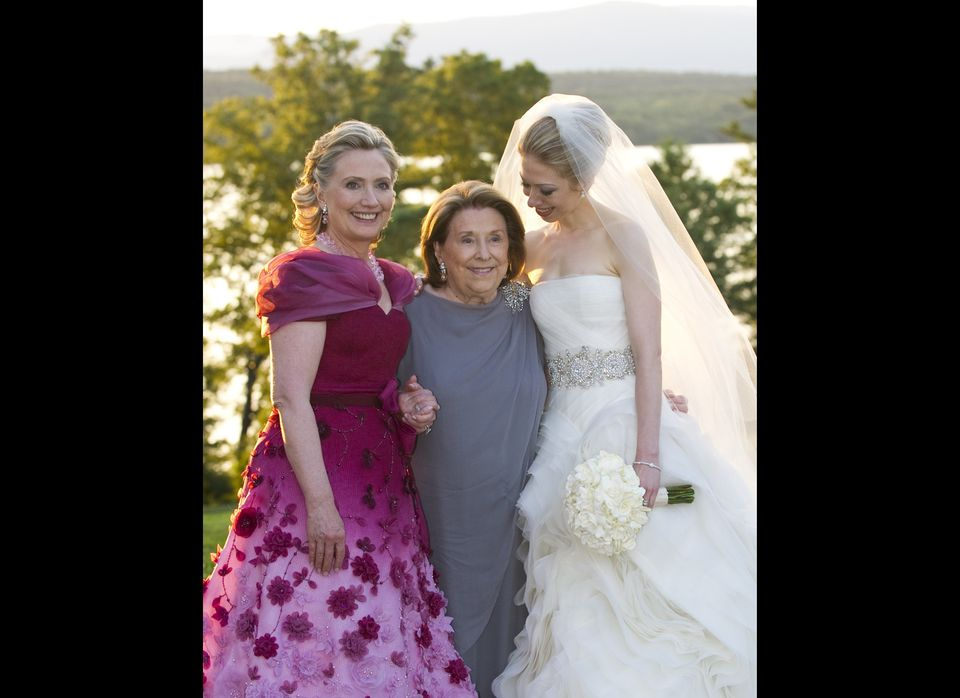 (L-R) U.S. Secretary of State Hillary Clinton, her mother Dorothy Rodham and Chelsea Clinton pose during the wedding of Chels