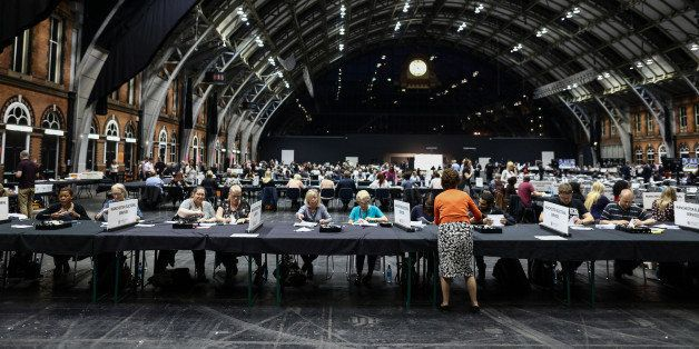 Tellers count ballot papers for the European Union (EU) referendum at Manchester Central Convention Complex in Manchester, U.