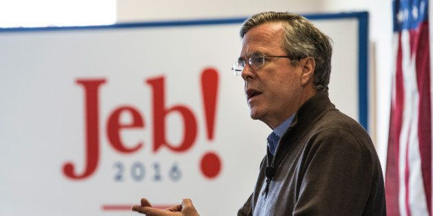 KEENE, NH - FEBRUARY 02:  Republican presidential candidate Jeb Bush speaks at a town hall style meeting for employees at C &