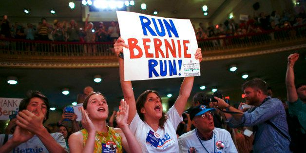 Supporters reacts as they listened a speech of Democratic Presidential Candidate Bernie Sanders during the event 'Where We Go