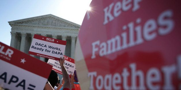 WASHINGTON, DC - APRIL 18:  Pro-immigration activists gather in front of the U.S. Supreme Court on April 18, 2016 in Washingt