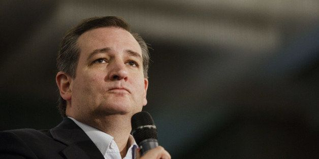 Senator Ted Cruz, a Republican from Texas and 2016 presidential candidate, pauses while speaking during a campaign event in I