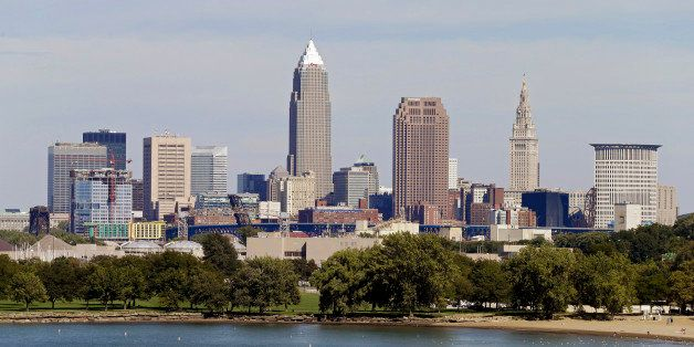 FILE - This Sept. 11, 2012, file photo shows the Cleveland skyline taken from Edgewater Park in Cleveland. Cleveland won the
