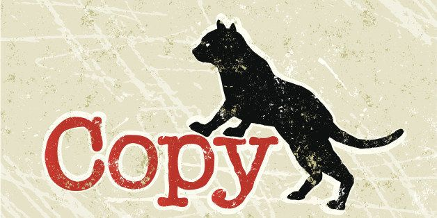 Copy Cat! A stylized vector cartoon of the word copy next to a cat, reminiscent of an old screen print poster and suggesting