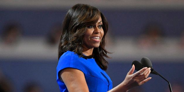 First Lady Michelle Obama speaks during the first day of the Democratic National Convention in Philadelphia , Monday, July 25