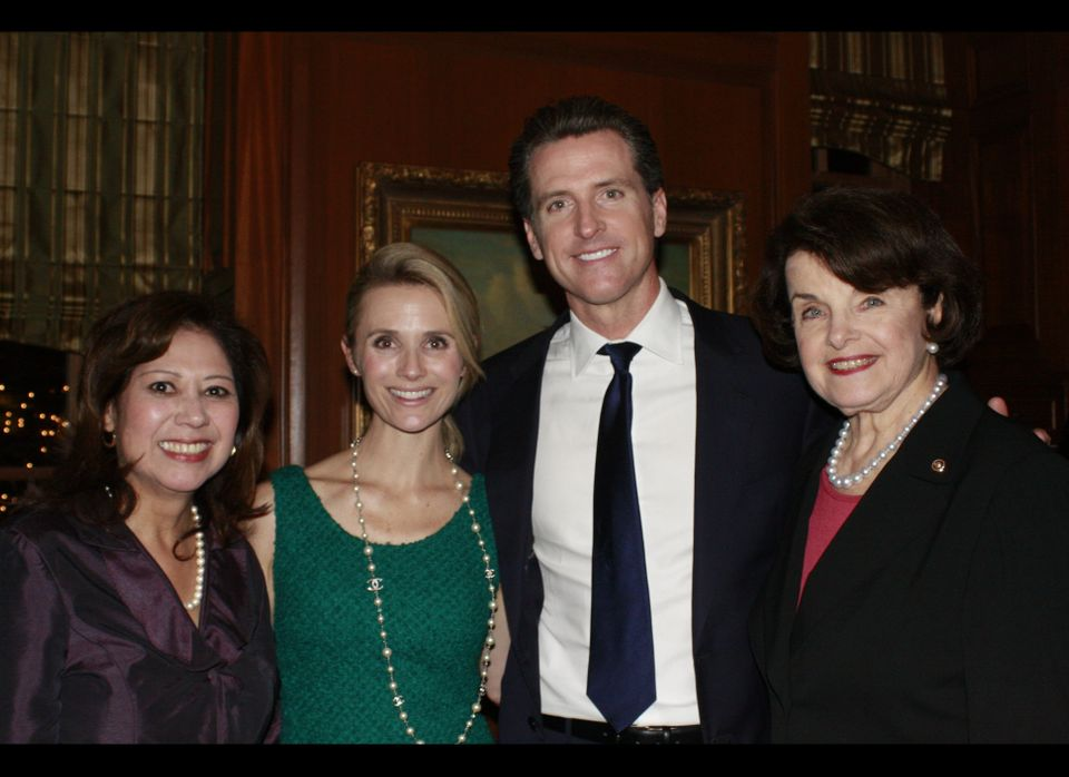 Labor Secretary Hilda Solis, Jennifer Siebel Newsom, Lt. Gov. Gavin Newsom and Sen. Dianne Feinstein (D-Calif.).