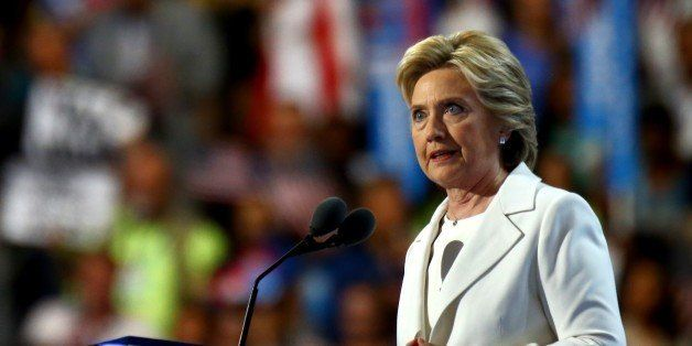 PHILADELPHIA, USA - JULY 29: The nominee of the Democratic Party for President of the United States Hillary Clinton  delivers