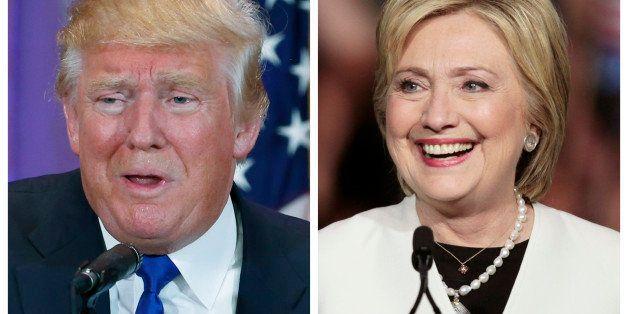 A combination photo shows Republican U.S. presidential candidate Donald Trump (L) in Palm Beach, Florida and Democratic U.S.