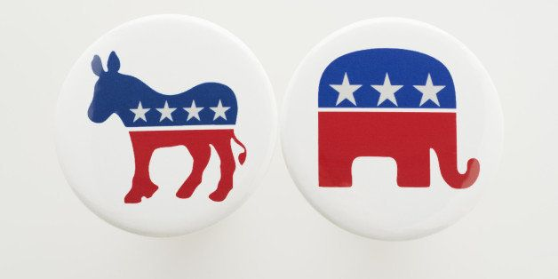 Democrat Donkey and Republican Elephant symbols on political buttons.