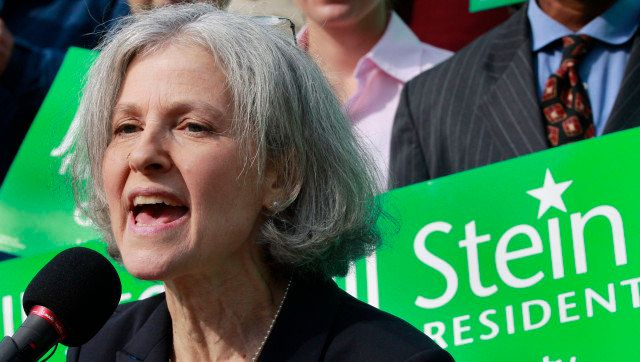 FILE - In this Oct. 24, 2011 file photo, Jill Stein of Lexington, Mass. speaks during a news conference outside the Statehous