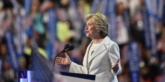 Democratic presidential nominee Hillary Clinton addresses delegates on the fourth and final night of...