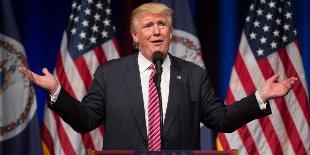 Republican presidential nominee Donald Trump speaks during a campaign event at Briar Woods High School August 2, 2016, in Ash