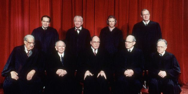 (Original Caption) 5/18/1988-Washington, D.C.- US Supreme Court (official portrait), front L-R: Thurgood Marshall; William Br