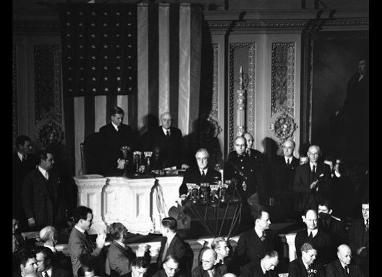"""""""Yesterday, December 7, 1941 -- a date which will live in infamy -- the United States of America was suddenly and deliberatel"""