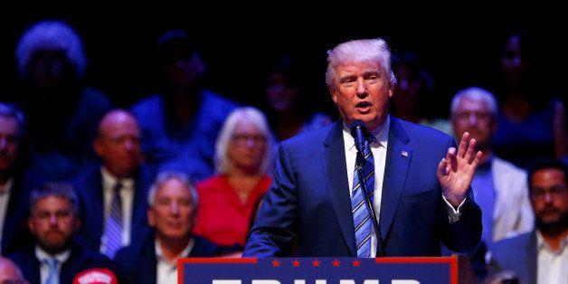 Republican U.S. Presidential nominee Donald Trump attends a campaign event at the Merrill Auditorium in Portland, Maine Augus