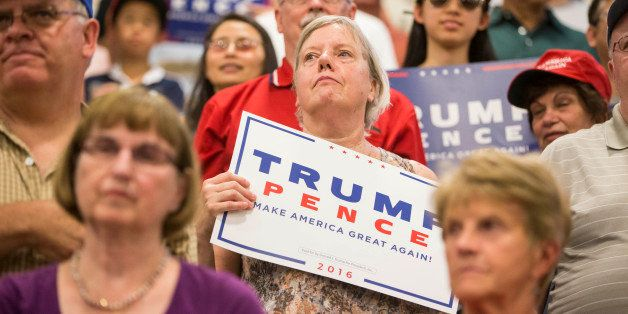 WINDHAM, NH - AUGUST 06: Supporters of Republican presidential candidate Donald Trump at a rally at Windham High School on Au