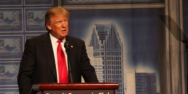 Donald Trump addresses the Detroit Economic Club at Cobo Center in Detroit, Michigan, United States on August 8, 2016. (Photo